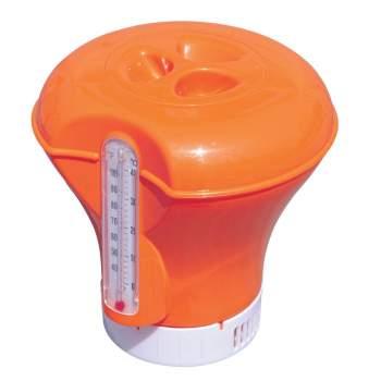 Bestway 58209-orange, плаваючий поплавок-дозатор для хімії з термометром, 2 в 1