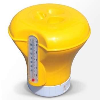 Bestway 58209-yellow, плавающий поплавок-дозатор для химии с термометром, 2 в 1