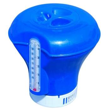 Bestway 58209-blue, плаваючий поплавок-дозатор для хімії з термометром, 2 в 1