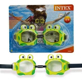 Intex 55603-green, детские очки для плавания, Обитатели моря. Лягушки