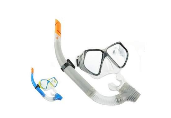 Bestway 24003-grey, набор для плавания, маска и трубка, от 14 лет. Серая