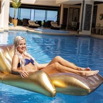 Intex 56803, надувное кресло для плавания. Золотистое
