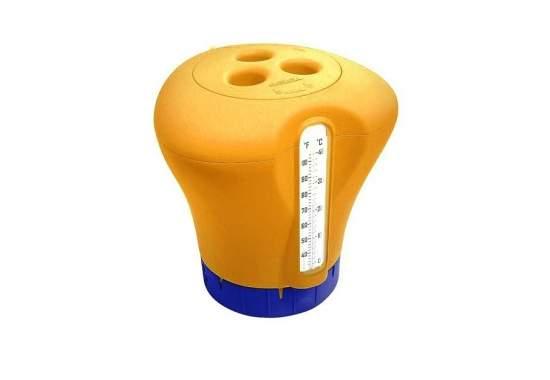 Kokido K619BU-orange, плавающий поплавок-дозатор для химии с термометром, 2 в 1