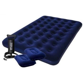 Bestway 67374, надувний матрац 203 x 152 x 22 см з насосом і подушками