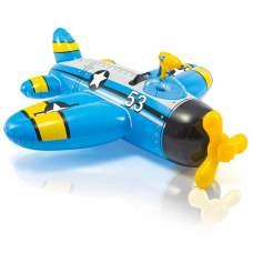 Intex 57537-blue, надувной плотик Самолетик 132x130 см