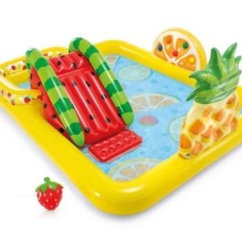 Intex 57158, дитячий надувний центр з гіркою фрукти