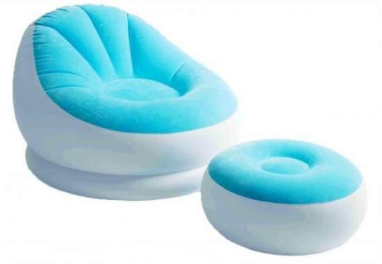 Intex 68572-G, надувне крісло 104 x 109 x 71 см з пуфом, блакитне
