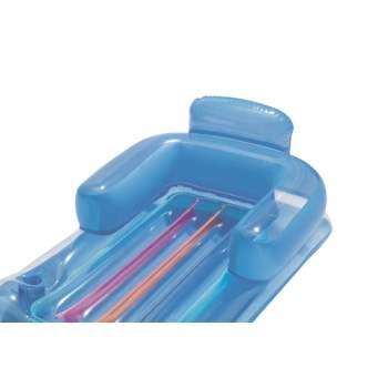 Bestway 43028-blue, надувний шезлонг для плавання 161х84см. Блакитний