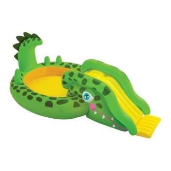 Intex 57132, дитячий надувний центр басейн з гіркою Крокодил