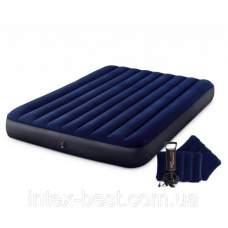 Intex 64765, надувной матрас 203 x 152 x 22 см с насосом и подушками (68765)