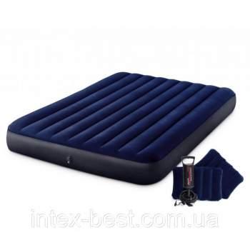 Intex 64765, надувний матрац 203 x 152 x 22 см з насосом і подушками (68765)