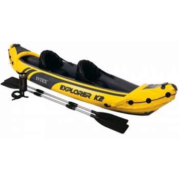 Intex 68307, надувная лодка-байдарка кайак EXPLORER K2, двухместная