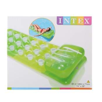 Intex 58890-green, надувной матрас для плавания 188x71см. Зеленый