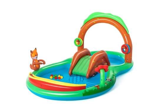 Bestway 53093, детский игровой центр бассейн с горкой Лесные игры 295x199x130 см
