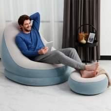 Bestway 75053-gray, надувное кресло 122 x 94 x 81 см с пуфом, серое