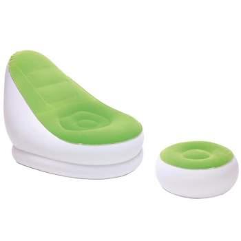 Bestway 75053-green, надувне крісло 122 x 94 x 81 см з пуфом, зелене