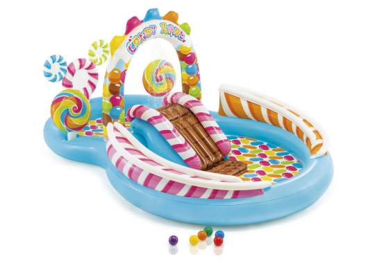 Intex 57149, дитячий надувний центр басейн з гіркою Карамель