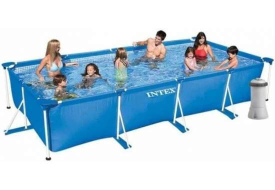 Intex 28274, каркасный бассейн 450 x 220 x 84 см Rectangular Frame Pool (Intex 28273 с насосом)