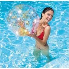 Intex 58070-gold, надувной прозрачный пляжный мяч Золотой, 71см