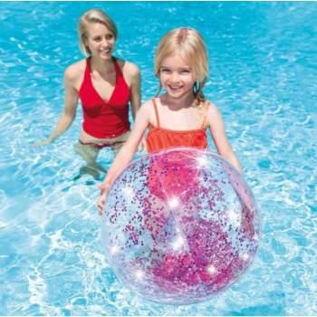 Intex 58070-pink, надувной прозрачный пляжный мяч Розовый, 71см