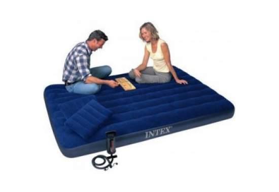 Intex 68765, надувной матрас 203 x 152 x 22 см с насосом и подушками