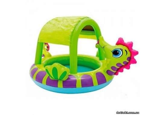 """Intex 57110, надувной детский бассейн с навесом """"Морской конек"""""""