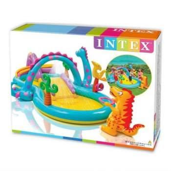 Intex 57135, дитячий надувний центр басейн з гіркою Планета Динозаврів